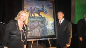 Lewis with Donna Dixon at Dan Aykroyd Gala Phl Currie Dinosaur Museum