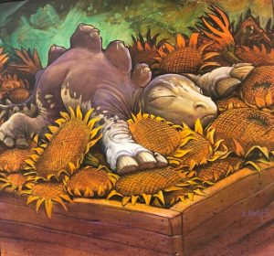 """Sunflower Bed 14"""" x 14"""" giclee print on canvas"""