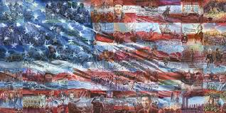 History in a Flag USA sticker mosaic