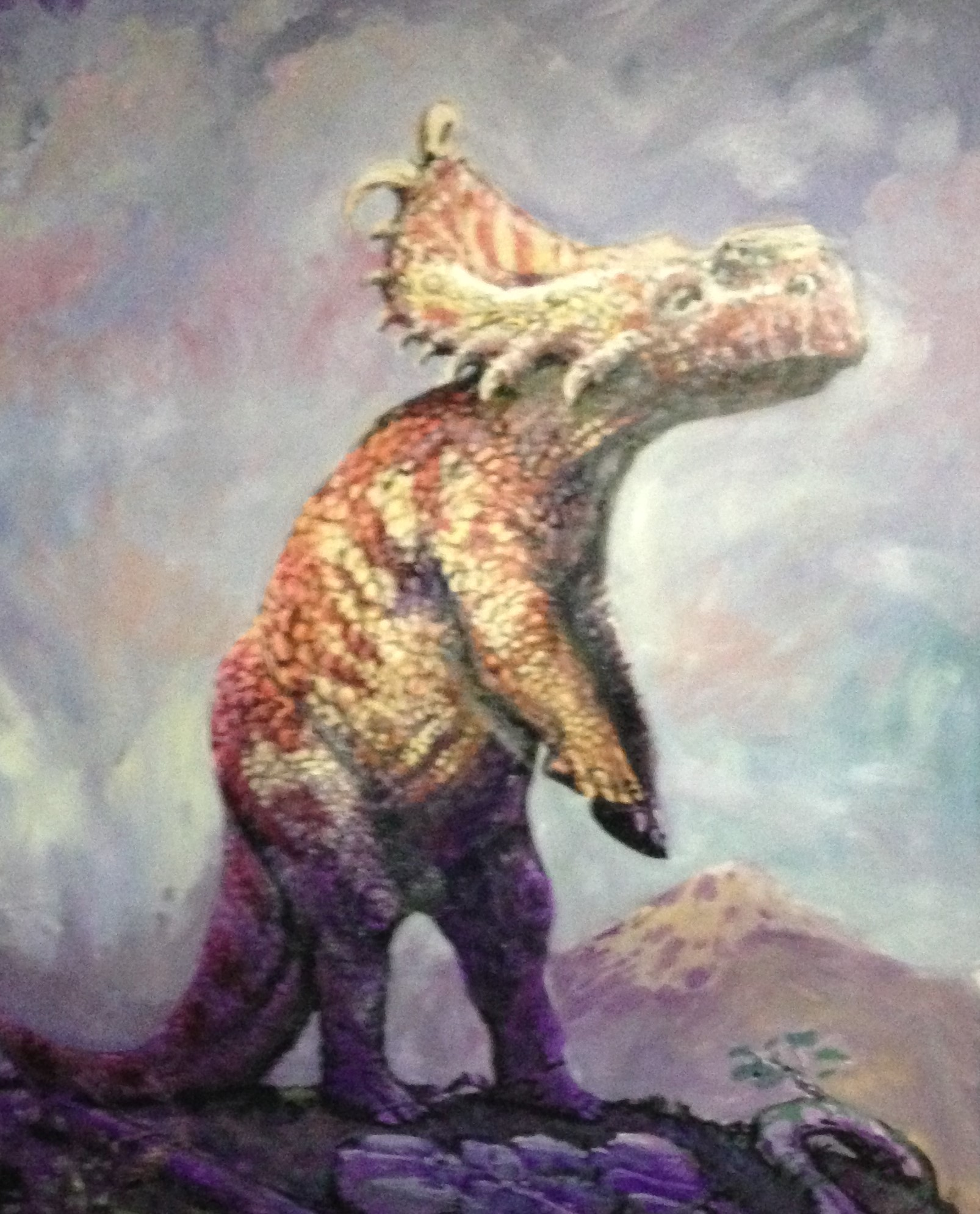 pachyrhinosaurus painted at the Dan dan aykroyd ATHE PHILIP J. CURRIE DINOSAUR MUSEUM 2015
