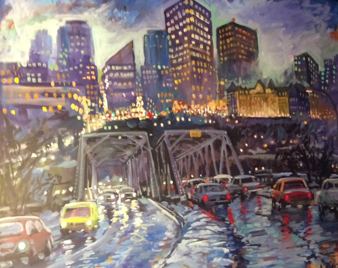 Edmonton Bridge scene live art